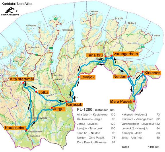 kart over kautokeino Trasekart   Se oversiktskart over Finnmarksløpets trase kart over kautokeino