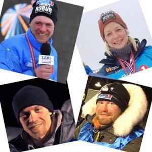 Finnmarksløpet 2019. Hvem vinner Saltdalshytta. Øverst fra venstre, Petter Karlsson, Birgitte Næss, Dallas Seavey og Kristian Walseth.